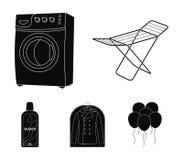Tork tvagningmaskin, rengöringkläder, blekmedel Fastställda samlingssymboler för kemtvätt i svart materiel för stilvektorsymbol royaltyfri illustrationer