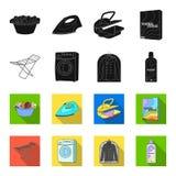 Tork tvagningmaskin, rengöringkläder, blekmedel Fastställda samlingssymboler för kemtvätt i svart, materiel för symbol för fletst vektor illustrationer