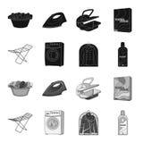 Tork tvagningmaskin, rengöringkläder, blekmedel Fastställda samlingssymboler för kemtvätt i svart, monokromt stilvektorsymbol stock illustrationer