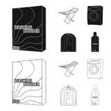Tork tvagningmaskin, rengöringkläder, blekmedel Fastställda samlingssymboler för kemtvätt i svart, symbol för översiktsstilvektor royaltyfri illustrationer