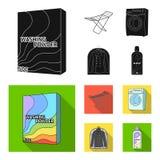 Tork tvagningmaskin, rengöringkläder, blekmedel Fastställda samlingssymboler för kemtvätt i svart, symbol för lägenhetstilvektor vektor illustrationer