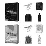 Tork tvagningmaskin, rengöringkläder, blekmedel Fastställda samlingssymboler för kemtvätt i svart, symbol för monochromstilvektor vektor illustrationer
