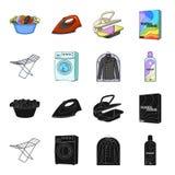Tork tvagningmaskin, rengöringkläder, blekmedel Fastställda samlingssymboler för kemtvätt i svart, symbol för tecknad filmstilvek royaltyfri illustrationer