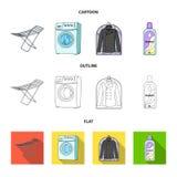 Tork tvagningmaskin, rengöringkläder, blekmedel Fastställda samlingssymboler för kemtvätt i tecknade filmen, översikt, lägenhetst vektor illustrationer