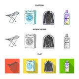 Tork tvagningmaskin, rengöringkläder, blekmedel Fastställda samlingssymboler för kemtvätt i tecknade filmen, lägenhet, monokrom s stock illustrationer