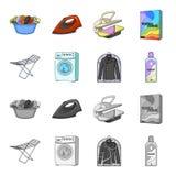 Tork tvagningmaskin, rengöringkläder, blekmedel Fastställda samlingssymboler för kemtvätt i tecknade filmen, monokrom stilvektor vektor illustrationer