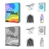 Tork tvagningmaskin, rengöringkläder, blekmedel Fastställda samlingssymboler för kemtvätt i tecknade filmen, monokrom stilvektor royaltyfri illustrationer