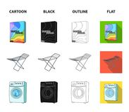 Tork tvagningmaskin, rengöringkläder, blekmedel Fastställda samlingssymboler för kemtvätt i tecknade filmen, svart, översikt, läg stock illustrationer