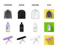 Tork tvagningmaskin, rengöringkläder, blekmedel Fastställda samlingssymboler för kemtvätt i tecknade filmen, svart, översikt, läg vektor illustrationer