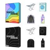 Tork tvagningmaskin, rengöringkläder, blekmedel Fastställda samlingssymboler för kemtvätt i tecknade filmen, svart stilvektorsymb vektor illustrationer