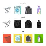 Tork tvagningmaskin, rengöringkläder, blekmedel Fastställda samlingssymboler för kemtvätt i tecknade filmen, svart, lägenhetstilv vektor illustrationer