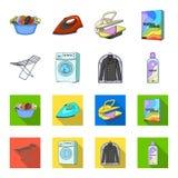 Tork tvagningmaskin, rengöringkläder, blekmedel Fastställda samlingssymboler för kemtvätt i tecknade filmen, symbol för lägenhets vektor illustrationer