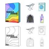 Tork tvagningmaskin, rengöringkläder, blekmedel Fastställda samlingssymboler för kemtvätt i tecknade filmen, symbol för översikts royaltyfri illustrationer