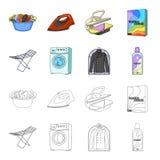 Tork tvagningmaskin, rengöringkläder, blekmedel Fastställda samlingssymboler för kemtvätt i tecknade filmen, symbol för översikts stock illustrationer