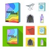 Tork tvagningmaskin, rengöringkläder, blekmedel Fastställda samlingssymboler för kemtvätt i tecknade filmen, symbol för lägenhets stock illustrationer