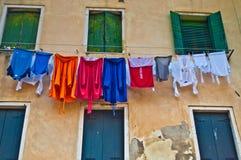 Torka kläder i Venedig Arkivbild