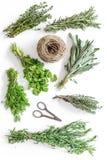 Torka ny örter och grönska för kryddamat på den vita modellen för bästa sikt för kökskrivbordbakgrund arkivbild