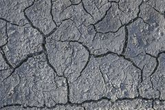 torka Sprickor i den torra jordningen Naturlig gr? bakgrund arkivfoto