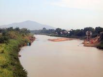 Torka vatten i den Yom floden Sukhothai landskap royaltyfria foton