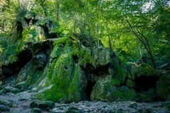 Torkad Beusnita vattenfall, Rumänien royaltyfri fotografi