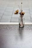 Torkad blomma i den glass vasen Arkivbild