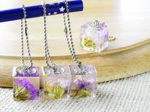 Torkad blomma i kristallklar kåda royaltyfria foton