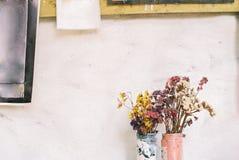 Torkad blomma i vas Fotografering för Bildbyråer