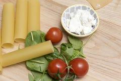 Torkad cannellonipasta med tomat- och spenatsidor Fotografering för Bildbyråer