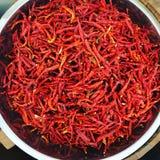 Torkad chili; chili i marknad Royaltyfria Bilder