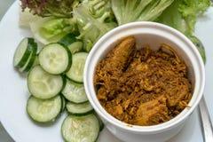 Torkad chilideg med grönsaken på maträttuppsättning Arkivfoto