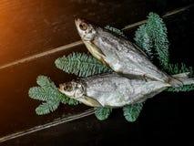 Torkad fisk i temat för nytt år royaltyfri bild