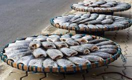 Torkad fisk på bamburastret i den soliga dagen Arkivfoton