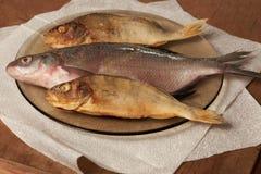 Torkad fisk på tabellen ölmellanmål till Arkivbilder
