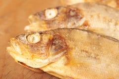 Torkad fisk på tabellen ölmellanmål till Arkivbild