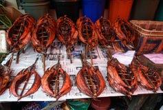 Torkad fisk på Tomohon den traditionella marknaden Royaltyfri Fotografi