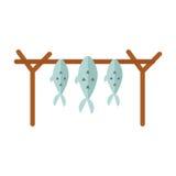 Torkad fiskvektorillustration stock illustrationer