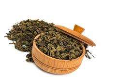 Torkad grön tea lämnar Arkivbild