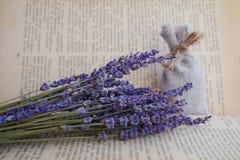 Torkad lavendel- och kanfaspåse framme av tappningboken Royaltyfri Foto