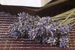 Torkad lavendelgrupp och tvål royaltyfria bilder