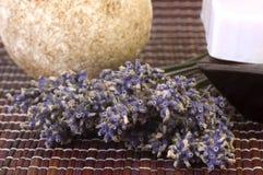 Torkad lavendelgrupp och tvål royaltyfri fotografi