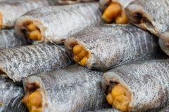 Torkad mat, torkad rimmad ung ogift kvinnafisk, thailändsk mat Royaltyfria Foton