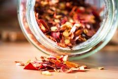 Torkad peppar för röd chili i en flaskkrus close upp arkivfoto