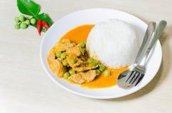 Torkad röd grisköttkokosnötcurry (Panaeng) Arkivfoto