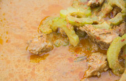 Torkad röd grisköttkokosnötcurry Panaeng med den bittra kalebassen arkivfoton