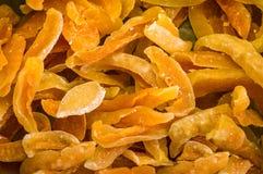 Torkad söt frukt - persikabakgrund Arkivfoton