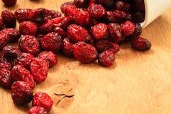 Torkad tranbärfrukt i bunke på tabellen royaltyfri fotografi