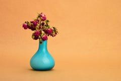 Torkad-upp bukett för röda rosor i en blå vas på bakgrund av kraft Royaltyfri Bild