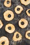 torkade äpplen Fotografering för Bildbyråer