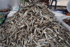 Torkade ansjovisar i den lokala Thailand marknaden Arkivfoton