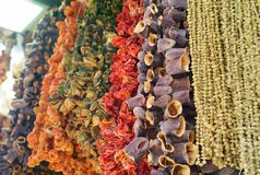 Torkade aubergine, peppar, tomater och andra torkade grönsaker som hänger i en basar royaltyfri bild